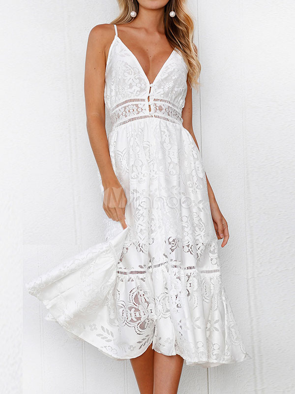 3c44950599f6 ... White Summer Dress Sexy Long Dress Lace V Neck Straps Slip Dress-No.5  ...
