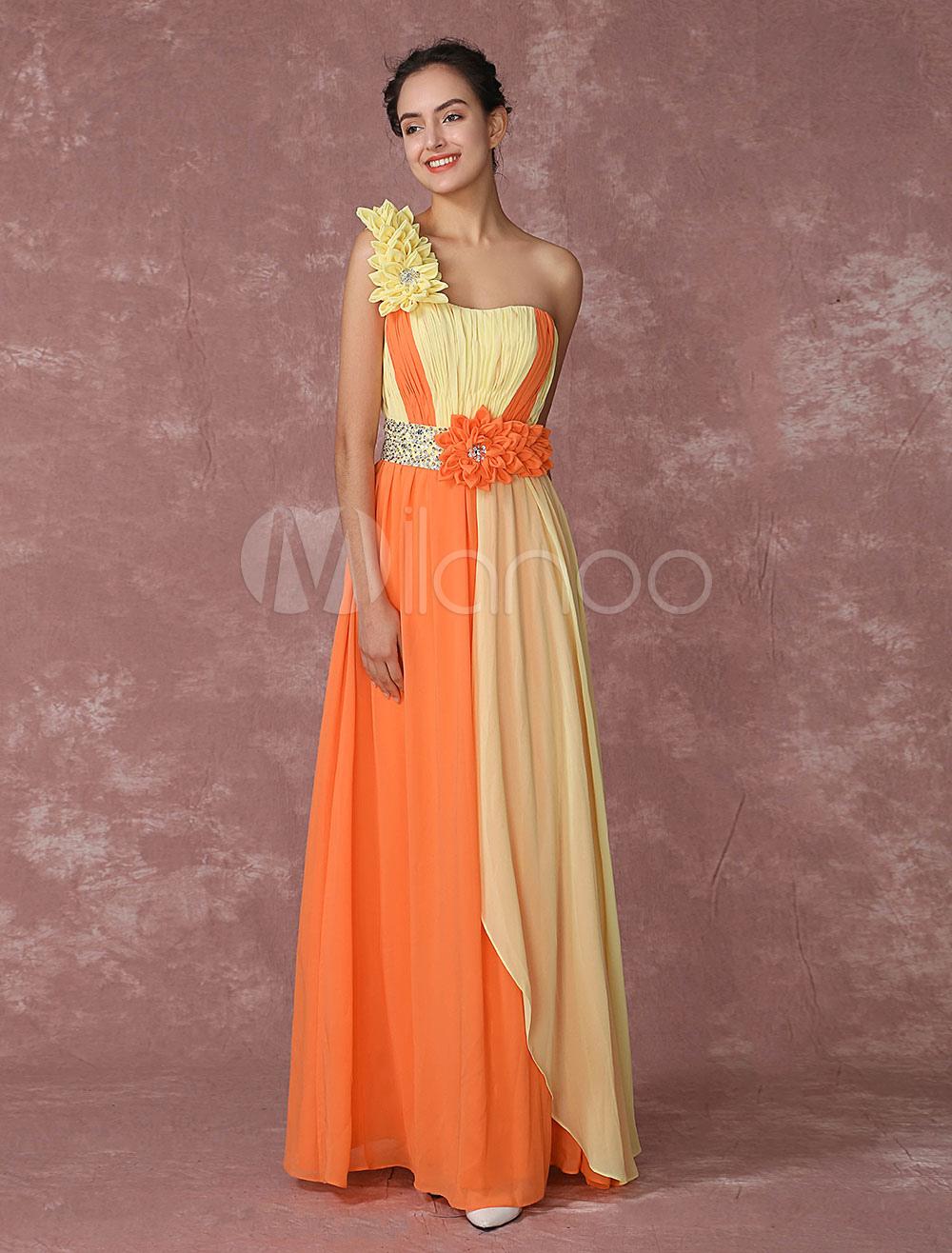A Abito Pageant Vestito Chiffon Una In Da Spalla Arancione Sera 08Nnvmw