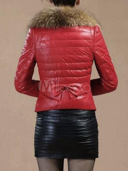 Winterjacke Damen Kunstpelz Kragen Reißverschluss PU Lederjacke schwarz