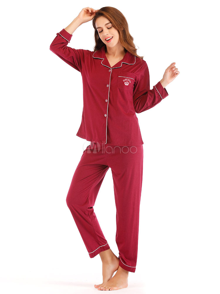 37302157ee78 ... Women Pajamas Loungewear Burgundy Piping Lingerie Sleepwear-No.4 ...