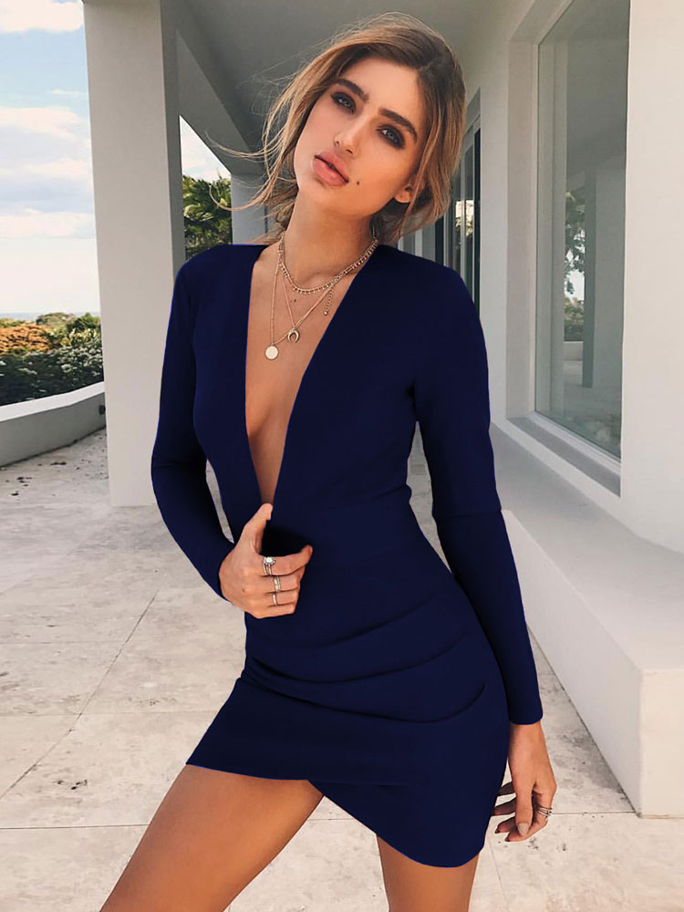 be6a53a73d5e5 Red Bodycon Dresses Plunging Neck Long Sleeve Cut Out Backless Women Sexy  Mini Dress