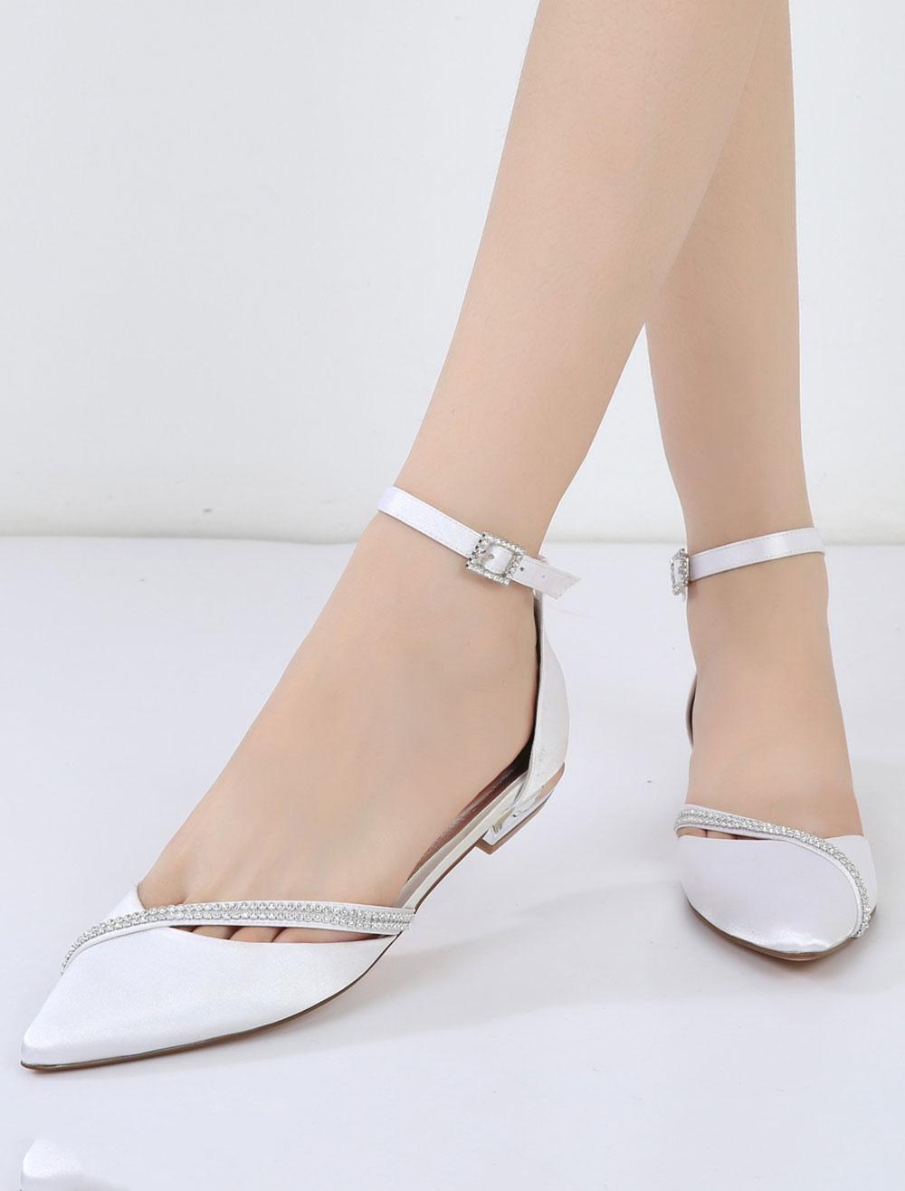 White Wedding Shoes Satin Bridesmaid Shoes Pointed Toe Rhinestones Flat Bridal Shoes