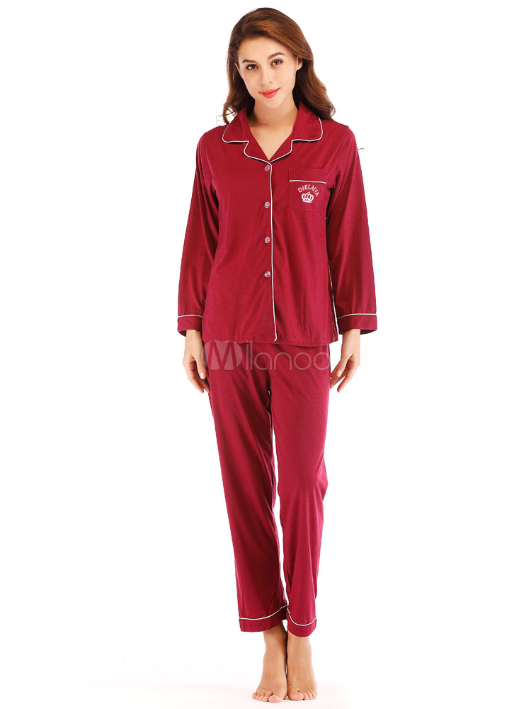 289a660883ca Women Pajamas Loungewear Burgundy Piping Lingerie Sleepwear-No.1 ...