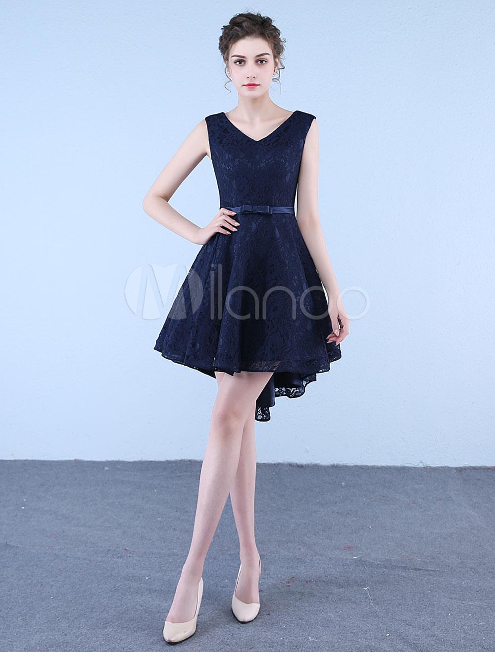 991e0560f06 ... Short Prom Dresses Lace Dark Navy V Neck Bow Sash High Low Asymmetrical  Graduation Dress-. 12. 45%OFF. Color Dark Navy