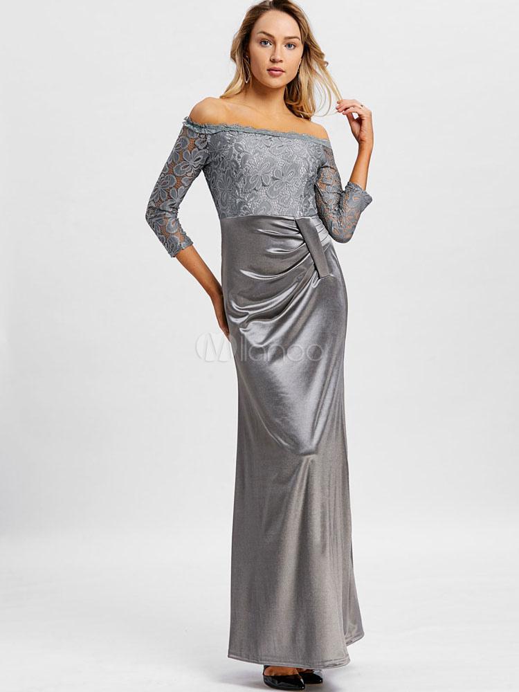robe longue dentelle robe manches 3 4 robe femme. Black Bedroom Furniture Sets. Home Design Ideas