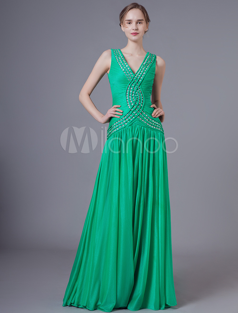 5b5b357ac99 Beautiful Dark Green V-Neck Beading Sheath Prom Dress Milanoo ...