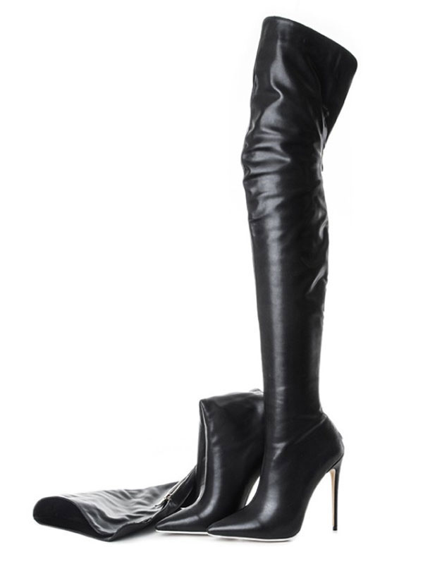 6b087bbf8c Black Over Knee Boots High Heel Boots Pointed Toe Zip Up Thigh High Boots-No  ...
