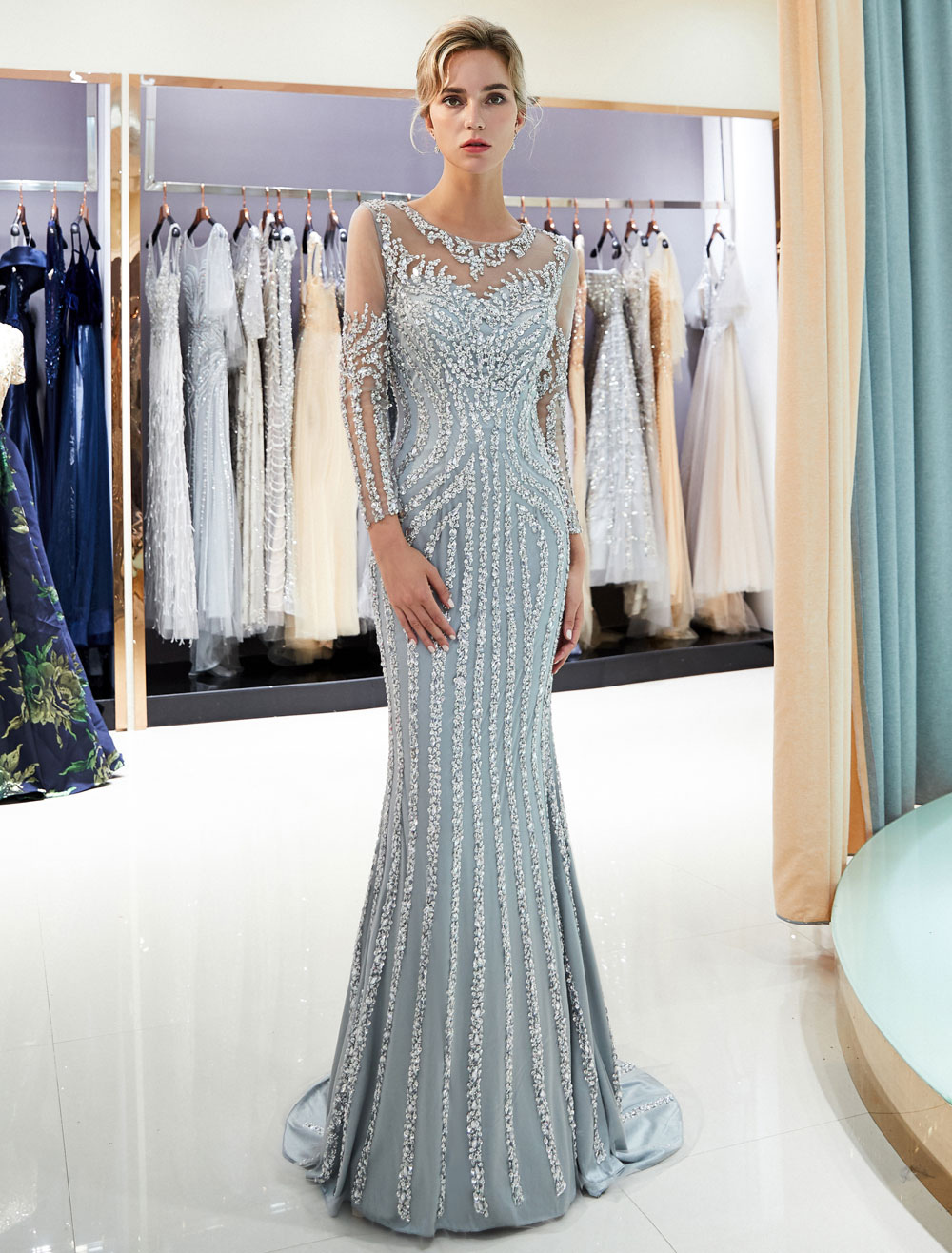 evening dresses long sleeve light grey mermaid beading illusion luxury  formal gowns