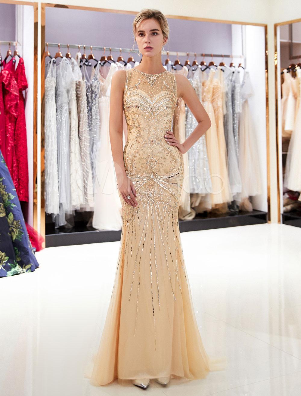 00ae4c5ea2e Mermaid Evening Dresses Light Gold Beaded Prom Dress Sleeveless ...