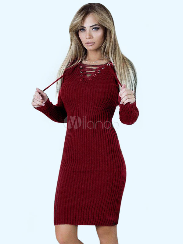 Women Sweater Dress Long Sleeve V Neck Lace Up Shaping Knitted Dress