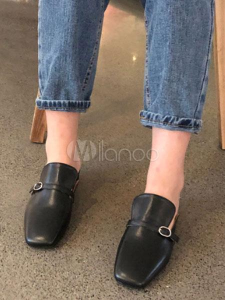 798c53a31c1 ... Women Mule Loafers Square Toe Buckle Detail Flat Mule Shoes-No.2 ...
