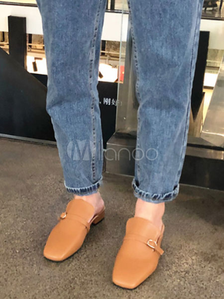 f431c814b03 Women Mule Loafers Square Toe Buckle Detail Flat Mule Shoes-No.1 ...