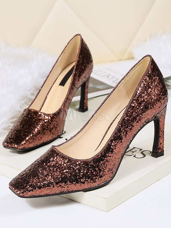 Chaussures Party De Shoes Toe Silver Talon Paillettes Carré Chunky NOX08wnPkZ