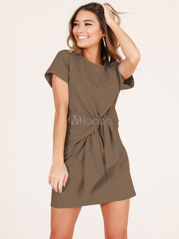 2cb4d626a0 T Shirt Dress Women Short Sleeve Round Neck Knotted Tie Waist Mini Dress-No.