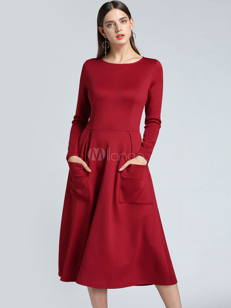 095e5e1308b Long Sleeve Skater Dress Round Neck Midi Dress Pockets Flared Dress-No.1 ...