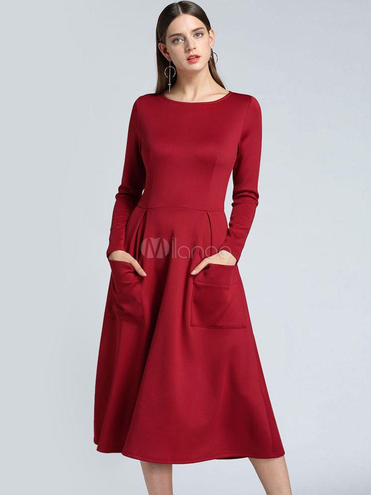 d49d0371f5c Long Sleeve Skater Dress Round Neck Midi Dress Pockets Flared Dress-No.1 ...