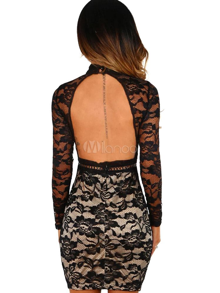 Schwarzes Spitzenkleid Langarm Sexy figurbetontes Kleid ...