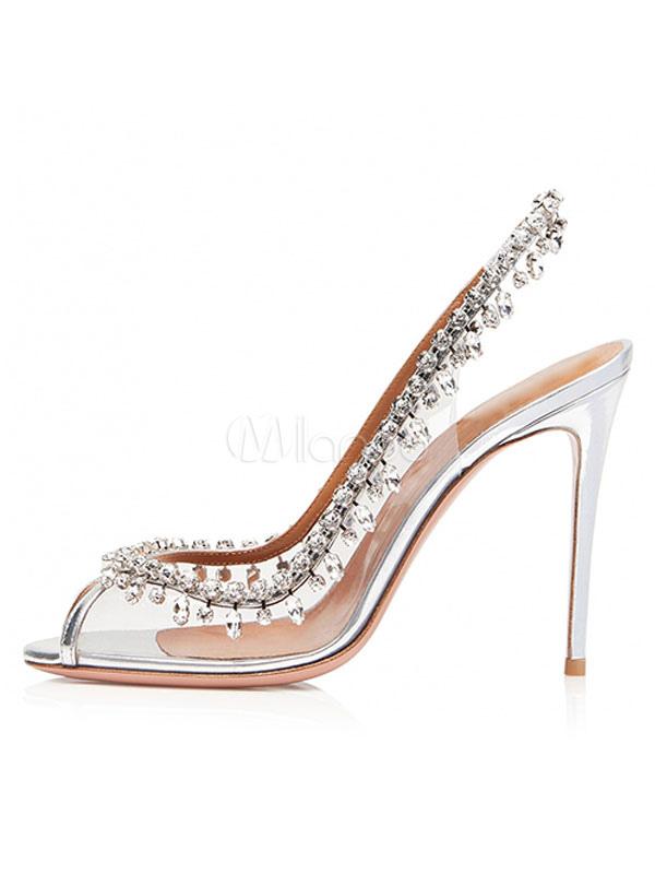 940511b2a ... Sapatos de Noite das mulheres Transparente Peep Toe Strass Sapatos de  Festa de Salto Alto Sapatos ...