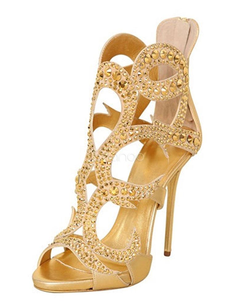 25ac1387d6f23d Chaussures de soirée pour femme avec strass dorés à bout ouvert et  chaussures à talons hauts ...