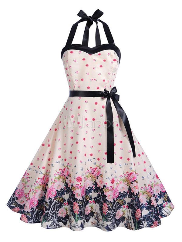 Abito vintage in stile anni  50 Pin Up Rockabilly Halter senza maniche Bow  Sash Vestito ... 9270ba79a87