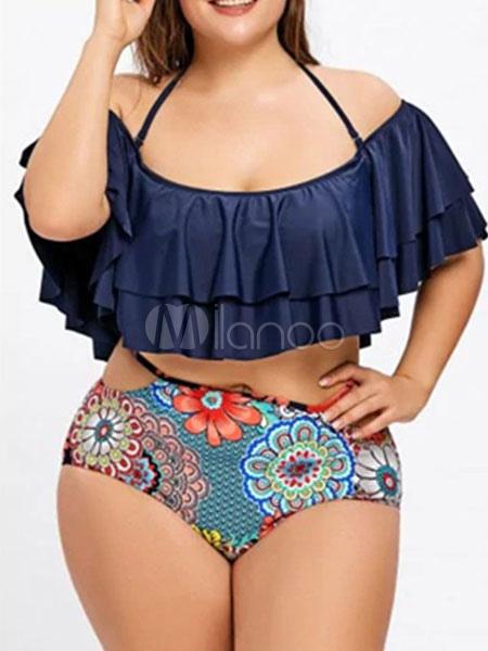 53c111f705 Maillot de bain grande taille femme Halter Ruffles Bikini taille haute à  imprimé floral-No ...