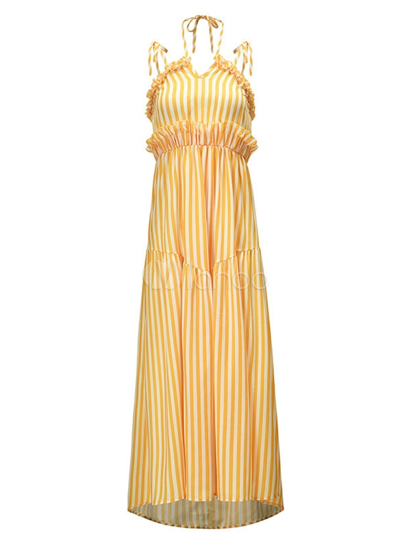 9268ac600c1 ... Летнее платье в полоску без бретелек с завязками Шифон длинное платье -No.4