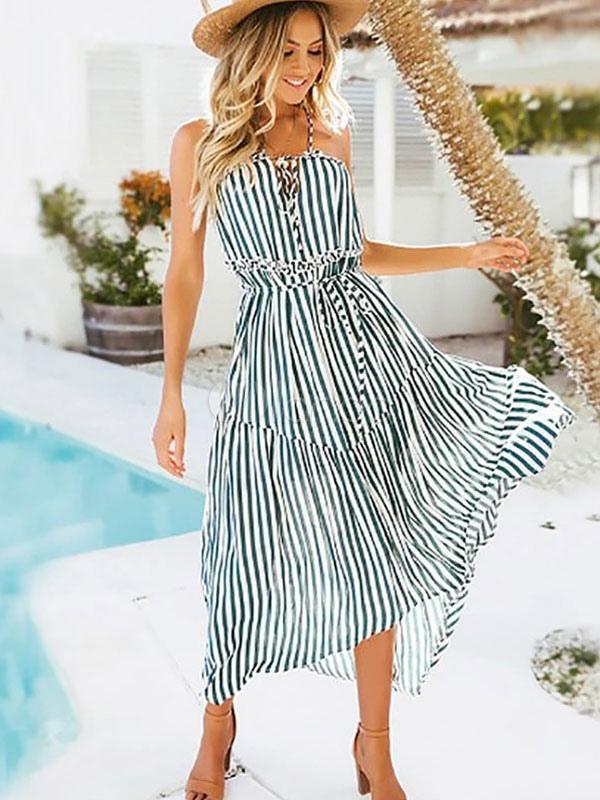 97bd2827f8a1 Летнее платье в полоску без бретелек с завязками Шифон длинное платье