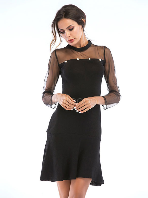 97dae65b3 Sexy Bodycon Dress Black Party Dress Pearls Long Sleeve Shaping Mini Dress