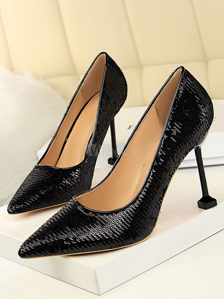 d1838577b9b Sequin Prom Shoes Gold Pointed Toe Slip On Evening Shoes Women High Heels