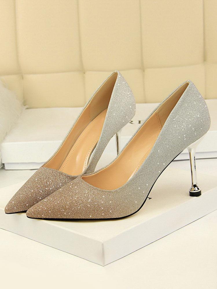 Para Noche Slip De Punta Stiletto Zapatos Brillo Mujer On Heel Tacones Altos Estrecha ERqtP