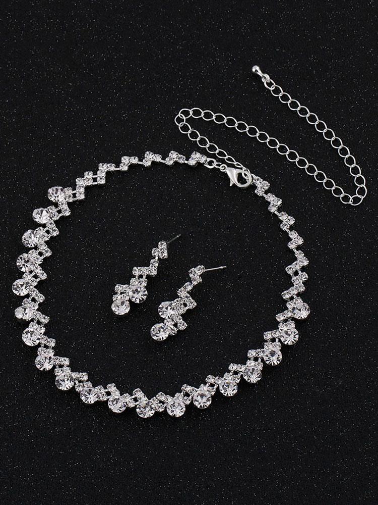 69f693b01a519 مجموعة مجوهرات أقراط الزفاف قلادة فضة اكسسوارات الزفاف - Milanoo.com