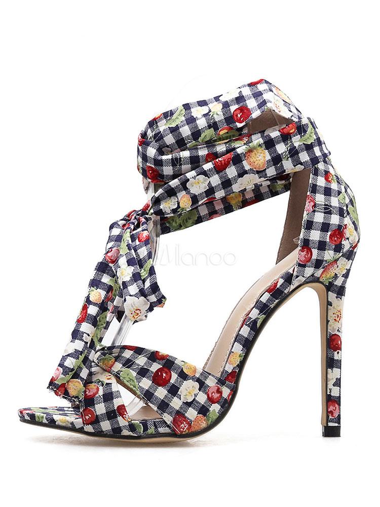 Mujer Alto Punta Con Sandalias Cereza Cordones Y De Tacón En Color Abiertos Abierta Zapatos vmNwn0Oy8