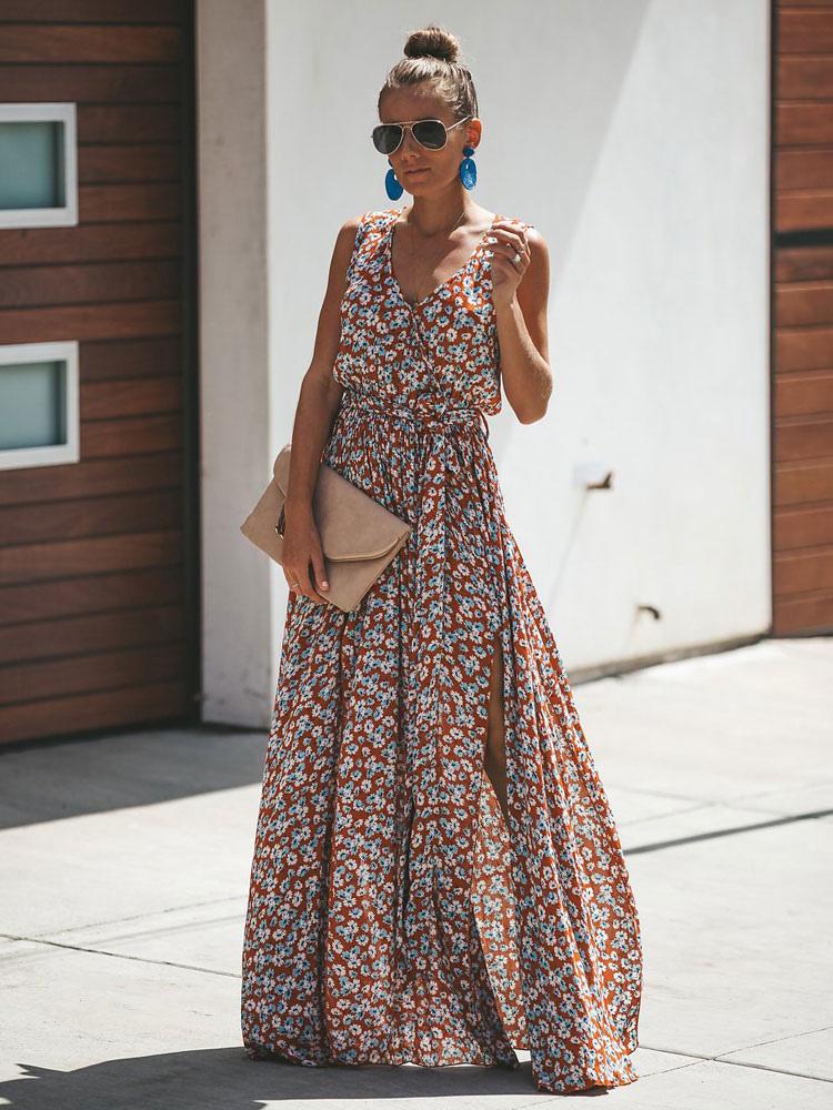 Robe Maxi 2020 A Fleurs Sans Manches Robe D Ete Fendue Avec Decollete En V Milanoo Com