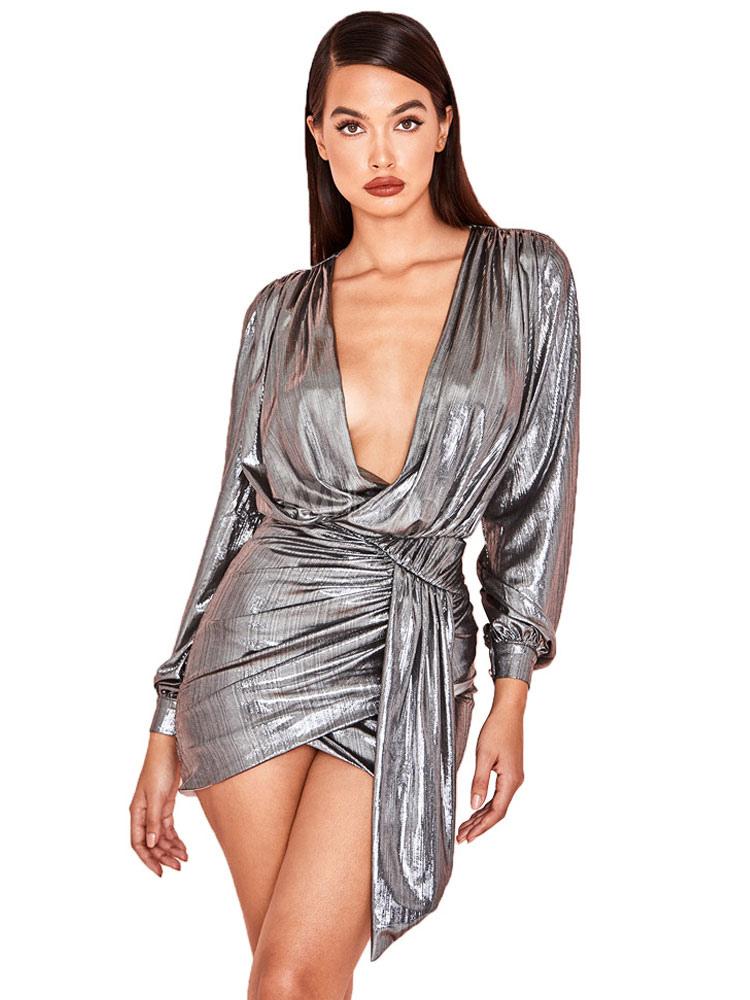 e711607b0f98 Sexy Club Dress Long Sleeve Plunging Ruched Irregular Shaping Mini Dress-No.1  ...