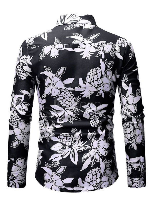 1e1dc499c245 Men Black Shirt Tropical Print Cotton Button Down Long Sleeve Casual Beach  Shirt-No.