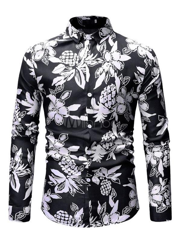 62cadac4540c2 قميص رجالي لون أسود قميص قطني استوائي طباعة طويل كم قميص شيفون كاجوال-No.