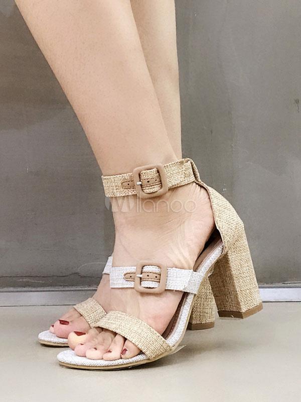 Abiertas Alto Con Tacón Para Tacones Hebillas Zapatos Sandalias Mujer De Grises pUVzqSM