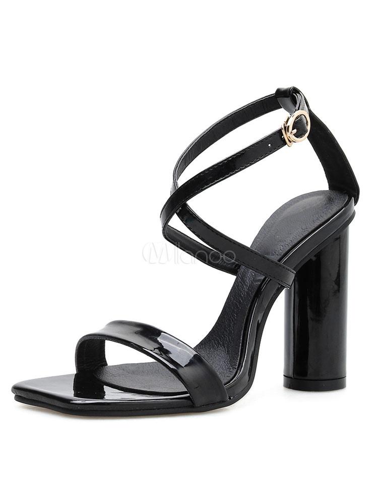 88df8bb9714 Women Block Heels Black Open Toe Criss Cross High Heel Sandals-No.1 ...