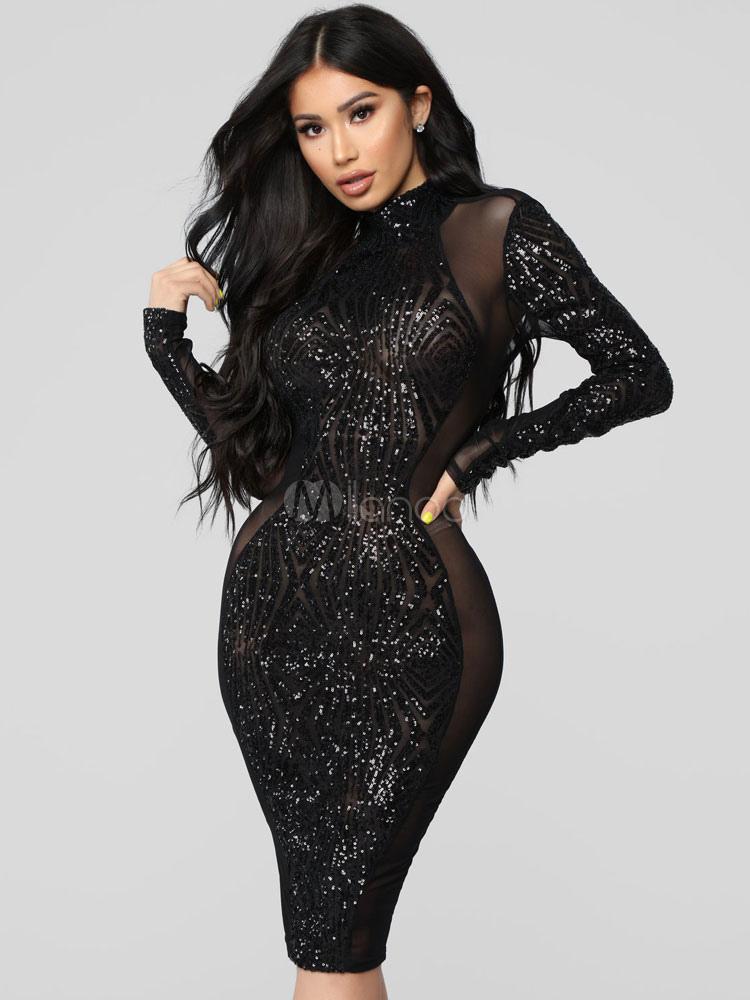 check out 181b0 4bce7 Vestito fasciante sexy Vestito paillettes nero Vestito da party a maniche  lunghe