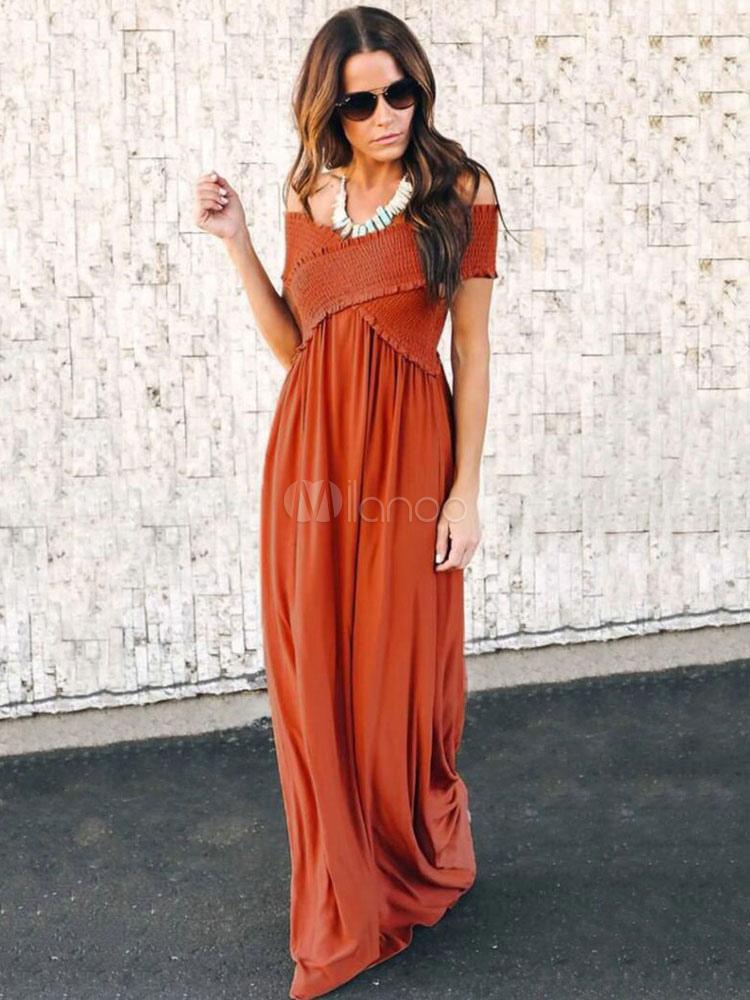 quality design 027a3 1c005 Vestito lungo da donna 2019 Vestito da spalla con maniche lunghe e maniche  lunghe al largo