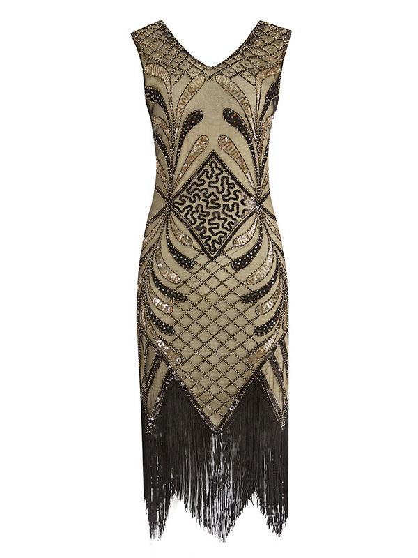 Flapper COSTUME CORTO ORO 1920s anni/'20 charleston Adulto Costume Vestito da donna