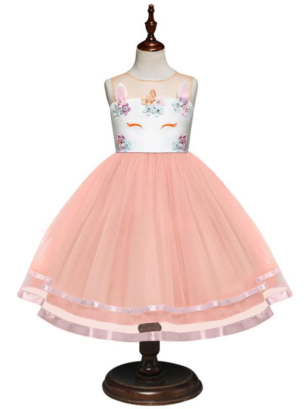 6f26cfa6b2edc Unicorn Dresses Little Girls Tutu Dress Halloween Costume Kids Party Dress  With Headpieces-No.