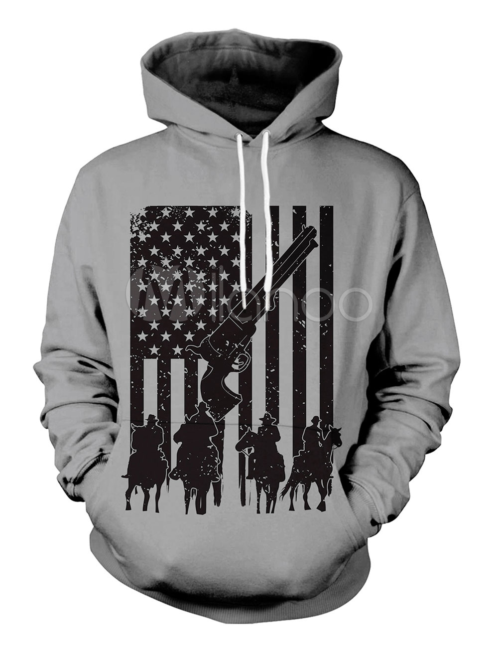 e44d1f0f Hoodie For Men Red Dead Redemption 2 Print Drawstring Long Sleeve ...