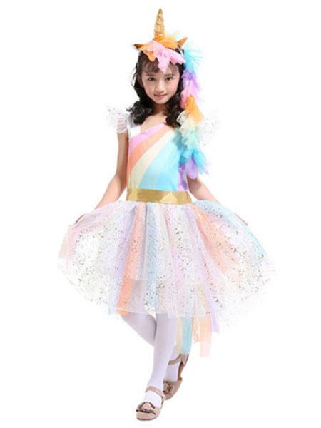 67a9c277 Rainbow Unicorn Dresses Baby Girls Princess Tutu Fancy Dress Headband Wings Kids  Halloween Costume-No ...