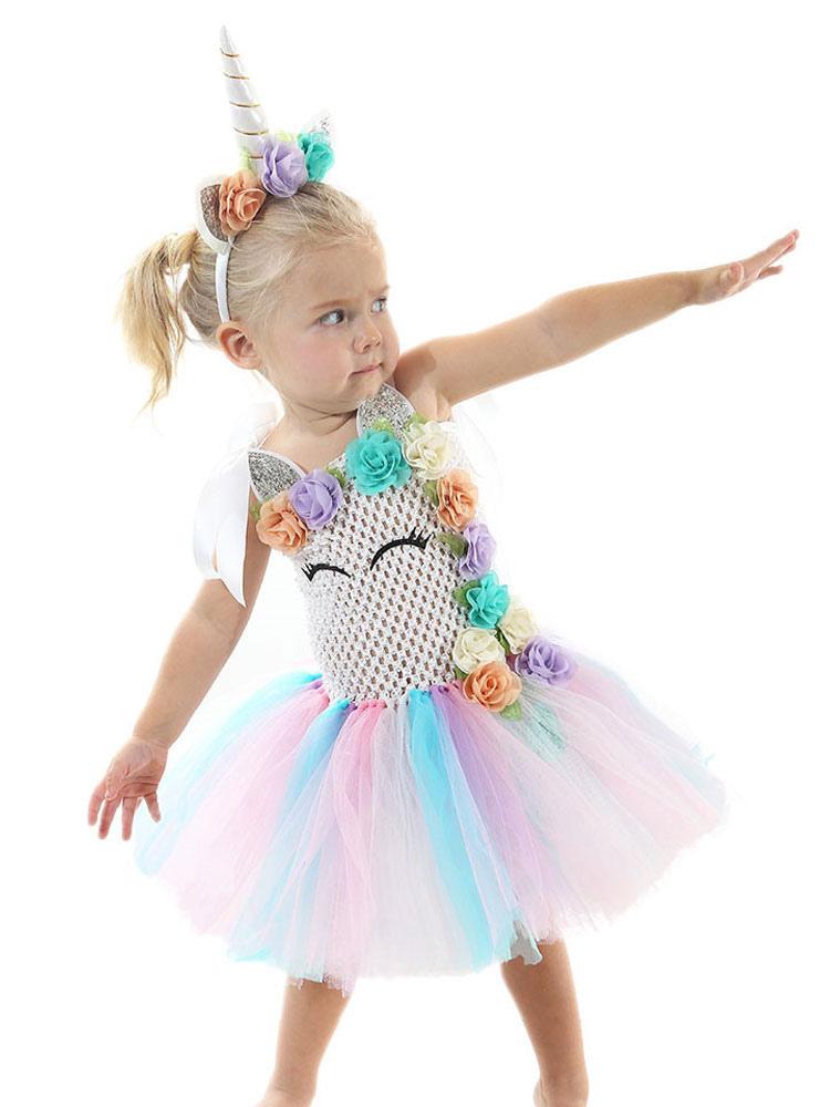 f1939bc9 Rainbow Unicorn Dresses Kids Halloween Costume Baby Girls Princess Tutu  Fancy Dress With Headband-No ...