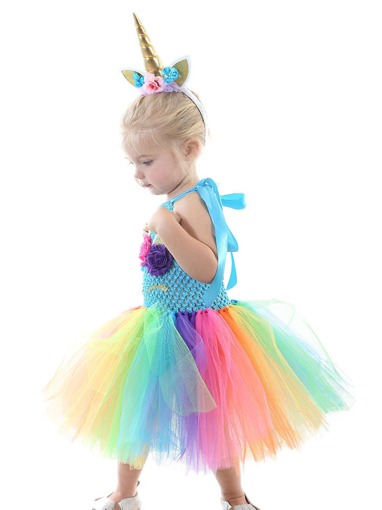 8dcac24f Rainbow Unicorn Dresses Kids Princess Tutu Fancy Dress Headband Baby Girls  Halloween Costume-No.