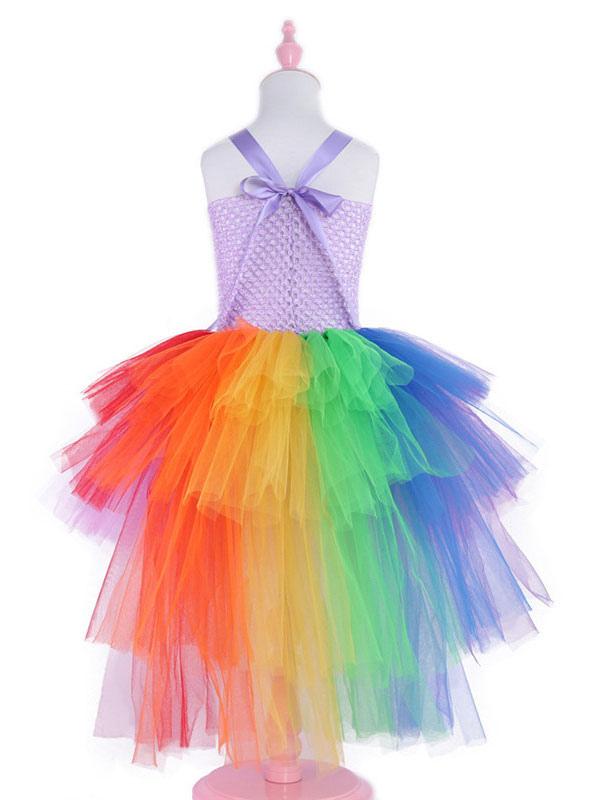 a1e9cde628a4 ... Rainbow Unicorn Dresses Kids Little Girls Tutu Fancy Dress Halloween  Costume-No.3 ...