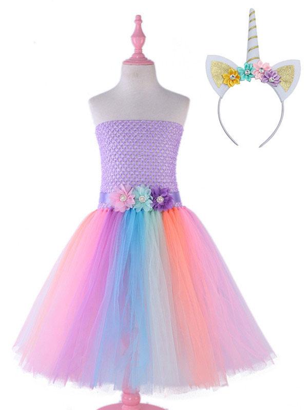 65a7d063 Rainbow Unicorn Dresses Baby Girls Flowers Princess Tutu Fancy Dress  Headband Kids Halloween Costume-No ...