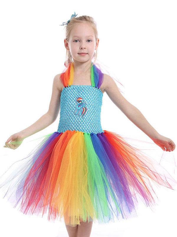 f47b36c6d Vestidos de Rainbow Unicorn 2019 Niñas bebés disfraz de Halloween Princesas  Tutu vestido de lujo con diadema