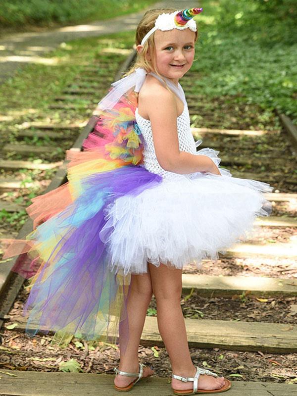 5b632d82 Rainbow Unicorn Dresses Baby Girls Princess Tutu Fancy Dress Asymmetrical Kids  Halloween Costume-No.